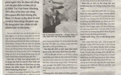 DTS ra đời gần 20 năm và đã được chứng minh hiệu quả chữa trị cho nhiều bệnh nhân.  Phòng khám ACC trên báo tuổi trẻ ngày 11/09/2014 về phương pháp trị liệu này.
