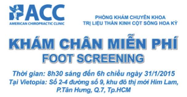 """Ngày 31/01/2015 – Thứ Bảy (8:30 – 17:00) tại Vietopia, ACC có buổi khám chân miễn phí """" tật bàn chân bẹt ở trẻ"""" và phát hiện dị tật bằng máy quét kỹ thuật số."""