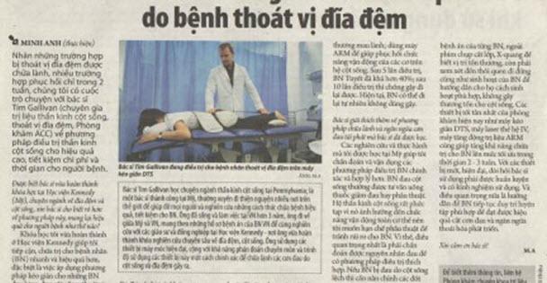 Báo giấy Thanh Niên phát hành ngày 15/07/2015 đưa tin về phương pháp chữa lành 95% và ngăn cơn đau tái phát do bệnh thoát vị đĩa đệm của Phòng khám ACC.