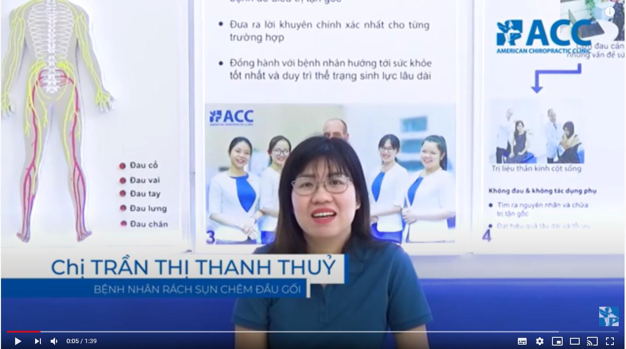 Chị Trần Thị Thanh Thủy được điều trị phục hồi thành công tại phòng khám ACC sau tai nạn vùng khớp gối.